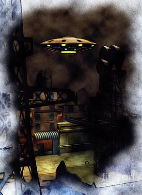 Science Fiction Paintings - UFO Invasion - Backstreet by Raphael Terra