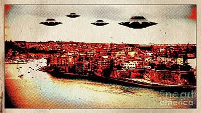 Ufo Invasion Pop Art By Raphael Terra Art Print