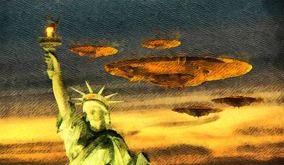 Ufo Liberty Art Print