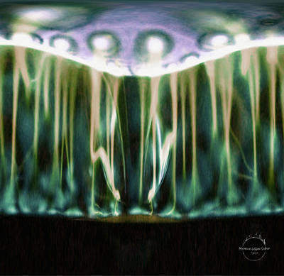 Digital Art - Ufo Lights Forest At Night by Absinthe Art By Michelle LeAnn Scott