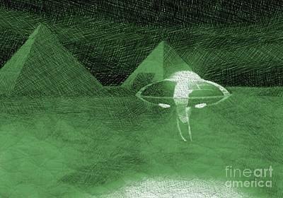 Pyramid Drawing - Ufo Near Pyramids by Raphael Terra