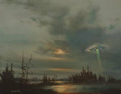 Flying Saucers Painting - Ufo Northern Exposure by Tom Shropshire