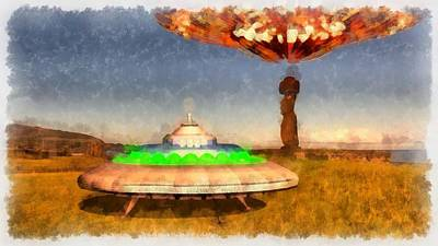 Alien Abduction Wall Art - Painting - Ufo On Easter Island by Esoterica Art Agency