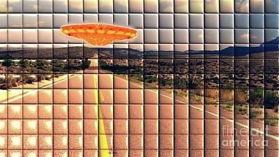 Science Fiction Royalty-Free and Rights-Managed Images - UFO on the Road by Raphael Terra