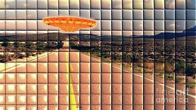 Science Fiction Digital Art - UFO on the Road by Raphael Terra