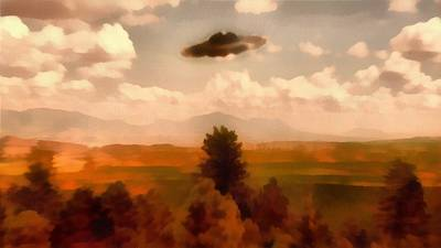 Ufo Painting - Ufo Over Forest by Esoterica Art Agency