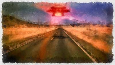 Ufo Painting - Ufo Over Highway by Esoterica Art Agency