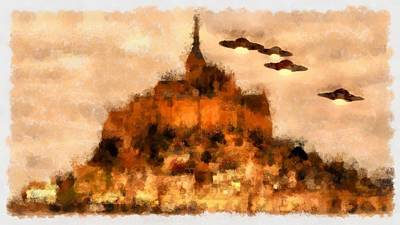 Paranormal Painting - Ufo Over Mont St Michel by Esoterica Art Agency