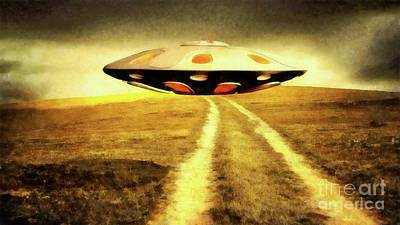 Monster Ufo Wall Art - Painting - Ufo Over Path by Raphael Terra