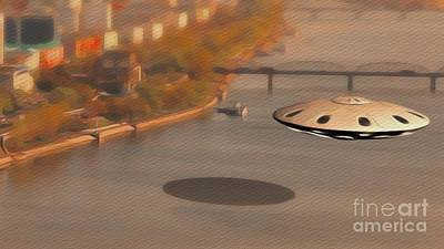 Science Fiction Royalty-Free and Rights-Managed Images - UFO Over River by Raphael Terra