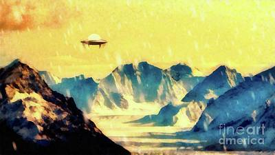 Monster Ufo Wall Art - Painting - Ufo Over Snowy Mountains by Raphael Terra
