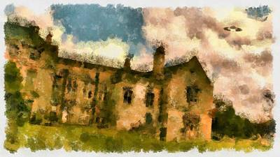 Paranormal Painting - Ufo Over Stately Home by Esoterica Art Agency