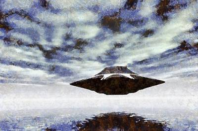 Ufo Over Water By Raphael Terra Art Print by Raphael Terra