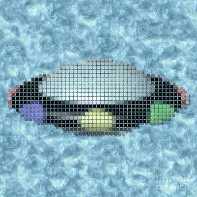 Cartoon Alien Digital Art - Ufo Pixelated Image by Miroslav Nemecek
