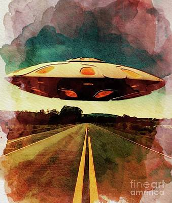 Science Fiction Royalty-Free and Rights-Managed Images - UFO Road by Raphael Terra