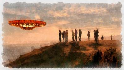 Strange Days Painting - Ufo Spotting by Esoterica Art Agency