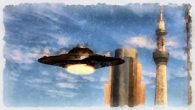 Ufo Towers Art Print