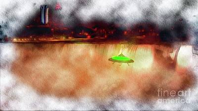 Science Fiction Paintings - UFO Visits Niagra Falls by Raphael Terra