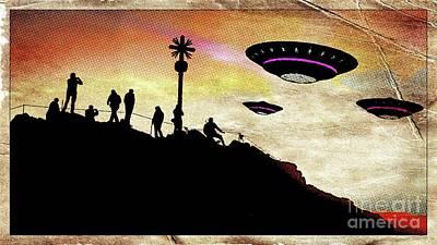 Paranormal Digital Art - Ufo Watchers Pop Art By Raphael Terra by Raphael Terra