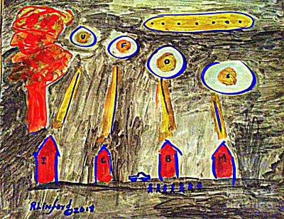 Painting - Armageddon Ufos Icbms Mushroom Cloud One by Richard W Linford