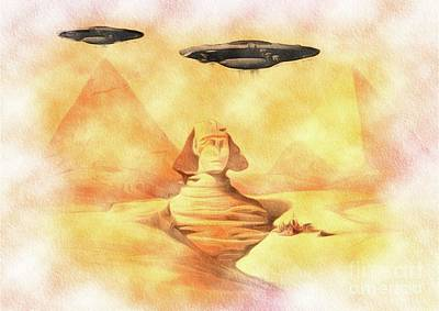 Sphinx Painting - Ufos Over Sphinx by R