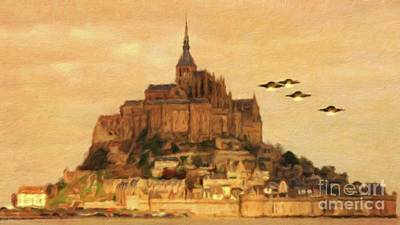 Science Fiction Royalty-Free and Rights-Managed Images - UFOs Over St. Muchaels Mount by Raphael Terra and Mary Bassett by Raphael Terra
