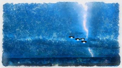 Extraterrestrials Painting - Ufos Over Washington by Esoterica Art Agency