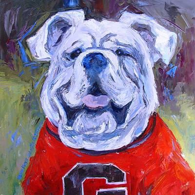 Georgia Bulldog Painting - Uga - Part Of College Series by Karen Mayer Johnston