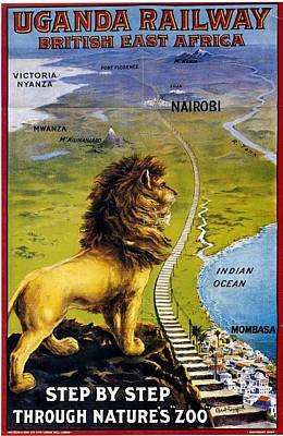 Royalty-Free and Rights-Managed Images - Uganda Railway - British East Africa - Retro travel Poster - Vintage Poster by Studio Grafiikka