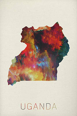 Uganda Mixed Media - Uganda Watercolor Map by Design Turnpike