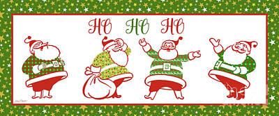 Ugly Christmas Sweater Santas-e Art Print by Jean Plout
