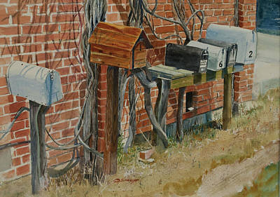 Uhland Mailboxes Art Print by E M Sutherland