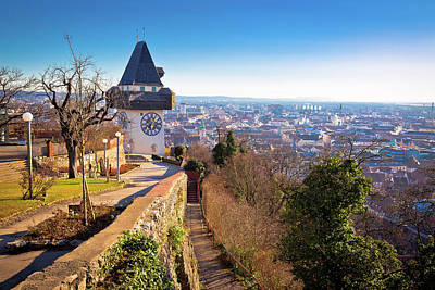 Photograph - Uhrturm Landmark And Graz Cityscape Aerial View by Brch Photography