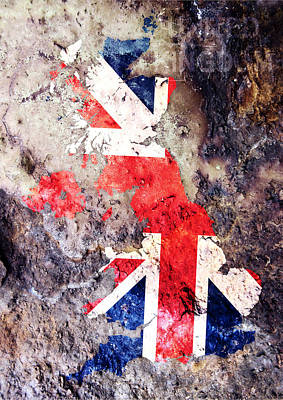 Uk Flag Map Print by Michael Tompsett