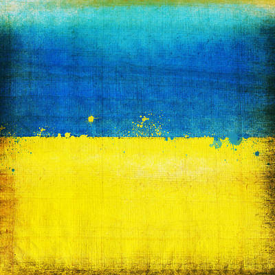 Stained Painting - Ukraine Flag by Setsiri Silapasuwanchai