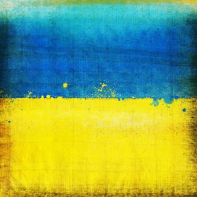 Sports Paintings - Ukraine flag by Setsiri Silapasuwanchai