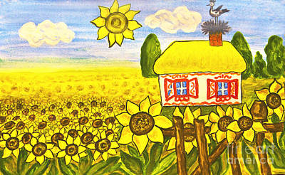 Painting - Ukrainian House With Sunflowers by Irina Afonskaya