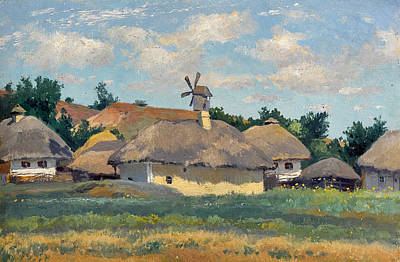 Ukrainian Landscape With Huts Art Print