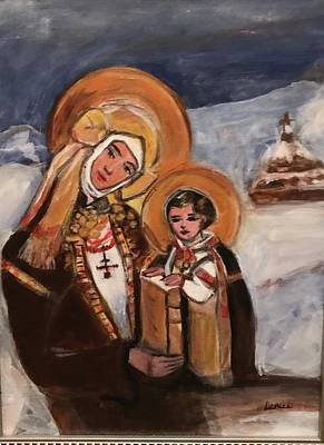 Mixed Media - Ukrainian Winter Madonna And Child by Denice Palanuk Wilson