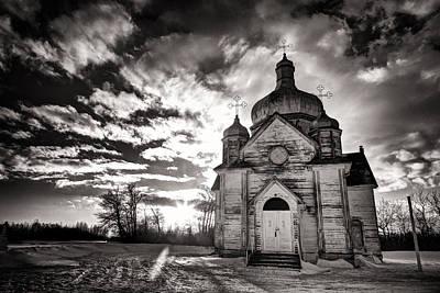 Ukranian Church Bw Sunset Art Print by Ian MacDonald