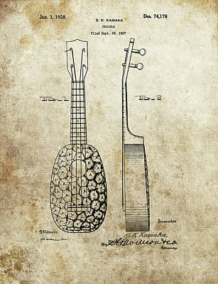 Musicians Drawings - Ukulele Patent by Dan Sproul