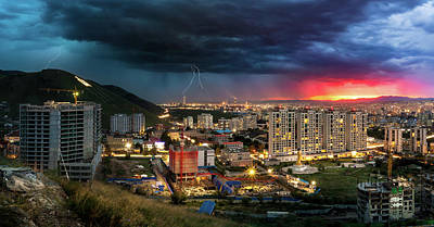 Photograph - Ulaanbaatar Sunset Thunderstorm by Geoffrey C Lewis