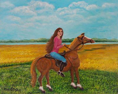Girl Riding Horse Painting - Ulla by Petra Theodoridou