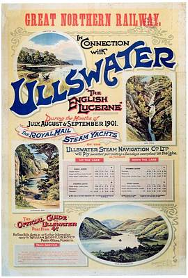 Landscapes Royalty-Free and Rights-Managed Images - Ullswater - Great Northern Railway - Landscape Illustrations - Vintage Advertising Poster by Studio Grafiikka