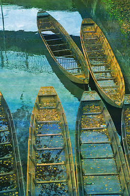 Ulm Digital Art - Ulm Danube Kahn Poke Kahn Boot  by PixBreak Art