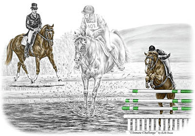 Eventing Drawing - Ultimate Challenge - Horse Eventing Print Color Tinted by Kelli Swan