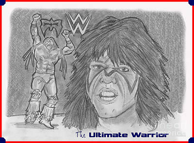 Drawing - Ultimate Warrior by Chris  DelVecchio