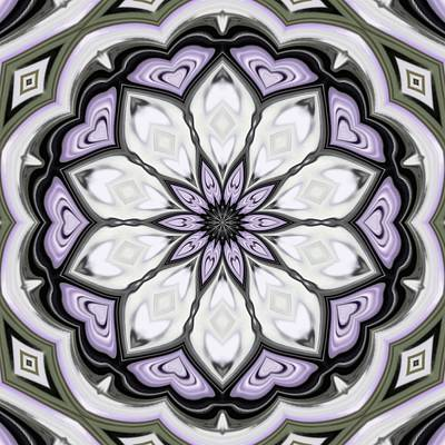 Digital Art - Ultra Violet Silver And Lilac Abstract Floral Pattern by Tracey Harrington-Simpson