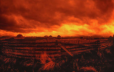 Agriculture Digital Art - Ultra Wide Angle Orange Storm Clouds Landscape by Jerry Voss