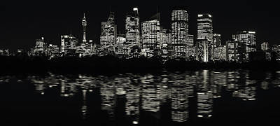 Photograph - Ultra-wide Panorama Of Sydney Waterfront Skyline In Black And White by Daniela Constantinescu